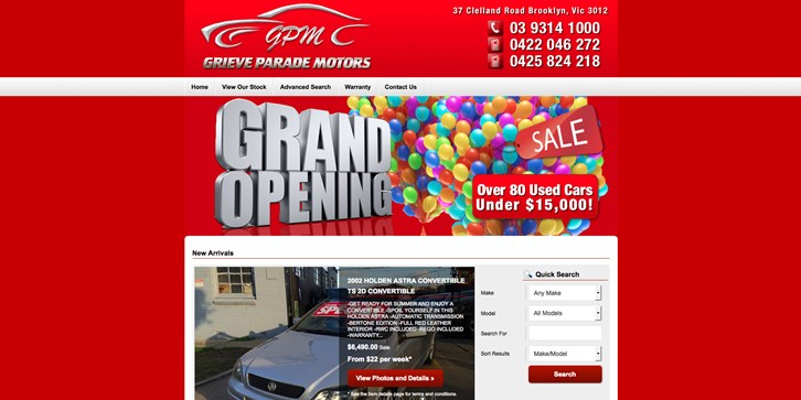 New Website Launched for Grieve Parade Motors!