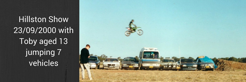 Hillston Show 23/09/2000 with Toby aged 13 jumping 7 vehicles