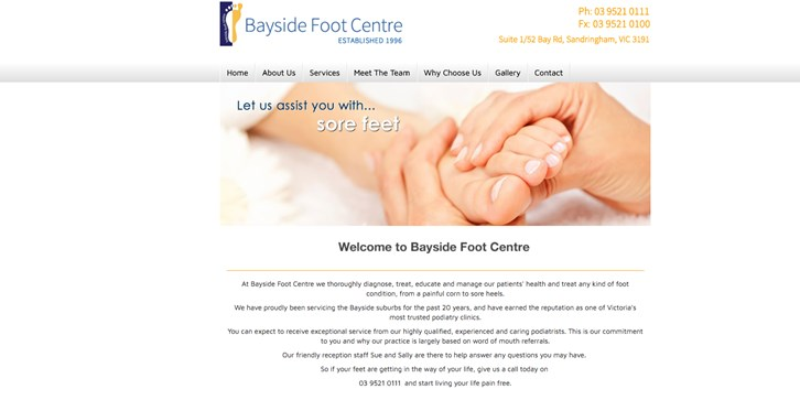 New Website Launched for Bayside Foot Centre!