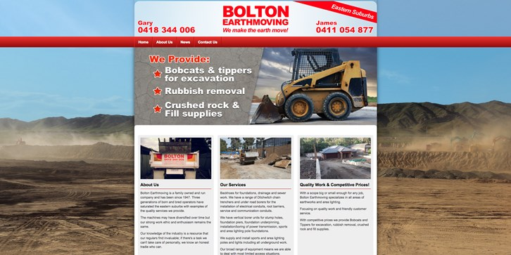 New Website Launched for Bolton Earthmoving!
